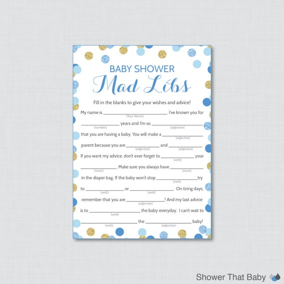 Blue And Gold Baby Shower Mad Libs Printable Baby Shower