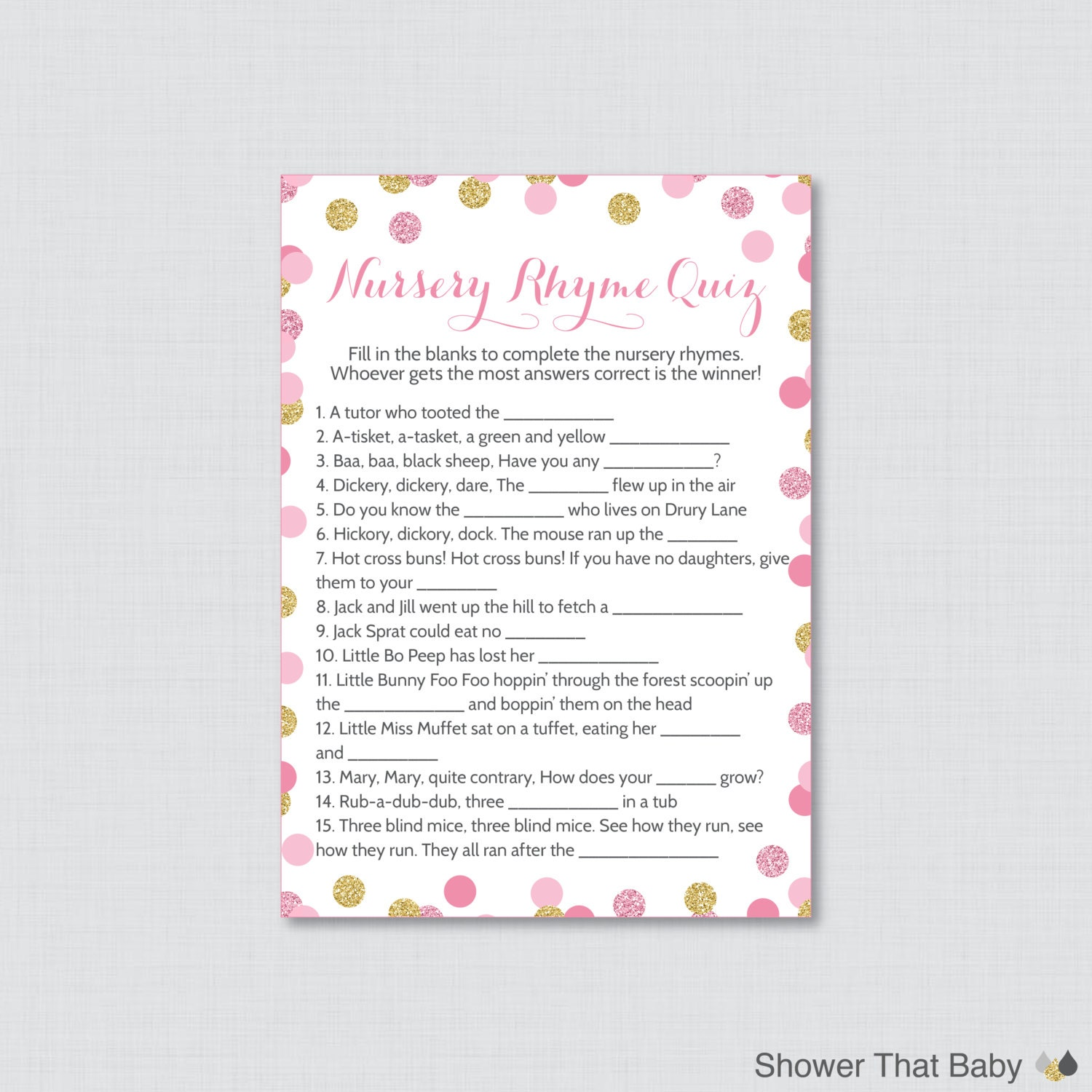 Baby shower nursery rhyme game printable pink by showerthatbaby