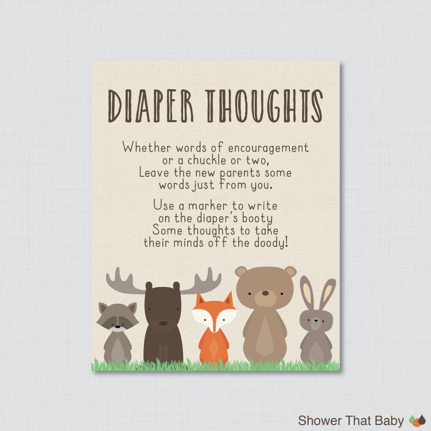 Woodland Baby Shower Diaper Thoughts Game Baby Shower
