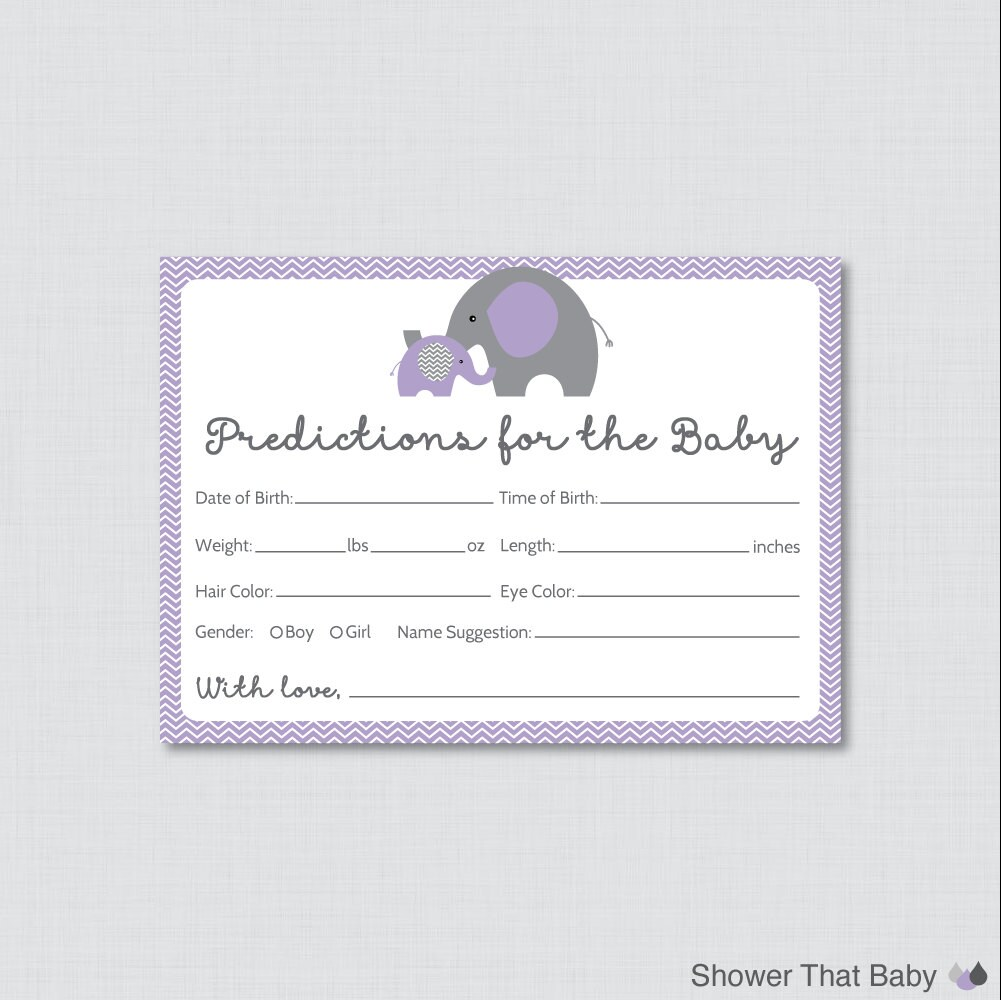 Guess The Birth Date Baby Shower Game: Elephant Baby Shower Prediction Cards Instant Download