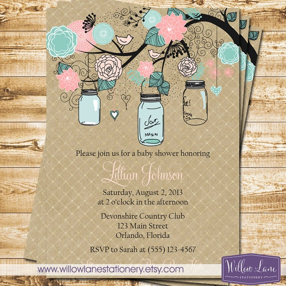 baby shower invitation mason jar baby shower invite kraft pink and