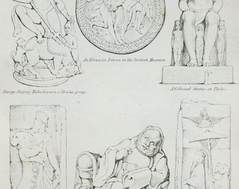 1820 Antique Art Print , Steel Engraving. Sculpture, Statues, Carving, Relief