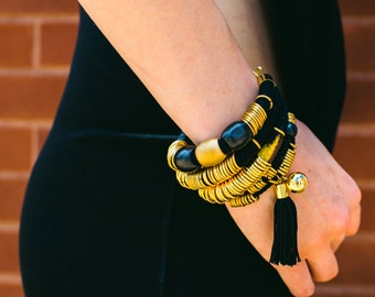 Gift Set of 3 Bracelets, Cotton Cord Bracelet, Black Tassel Bracelet, Boho Chic Bracelet