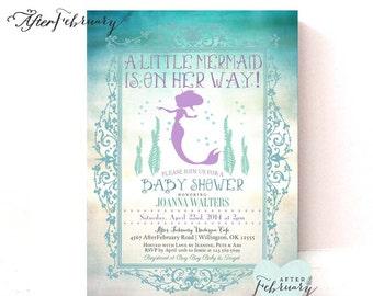 Mermaid Baby Shower Invitation // Summer Baby Shower Invites Mermaid Invitation // Teal and Lavender // Printable OR Printed No. 332BABY