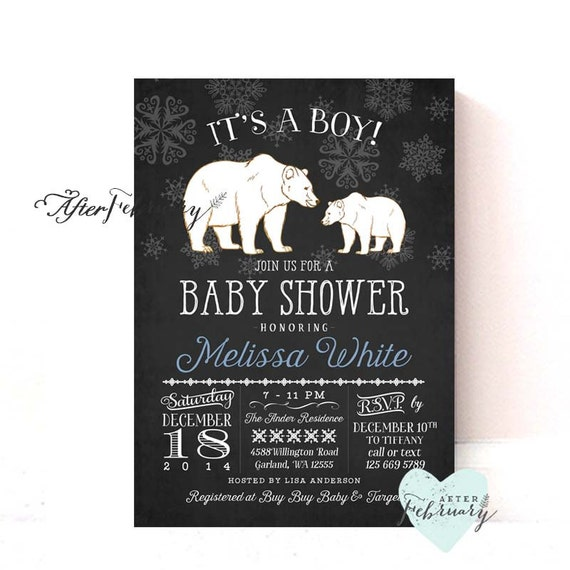 Winter Baby Shower Invitation Charcoal Black Color Arctic