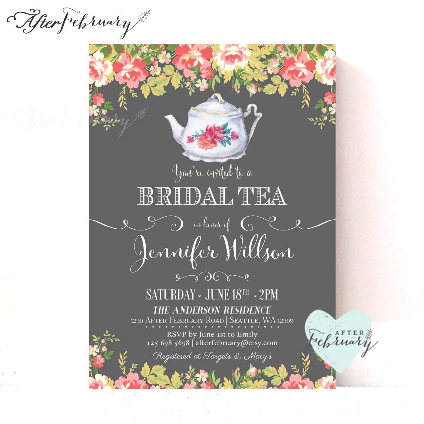 Bridal Shower Tea Party Invitations // Bridal Shower Tea Party