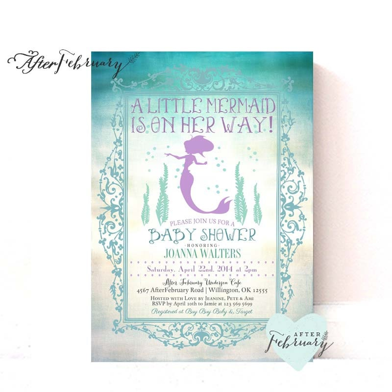 mermaid baby shower invitation summer baby shower invites