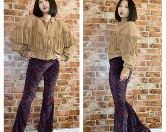 Vintage 90s fringe Leather Tan Jacket