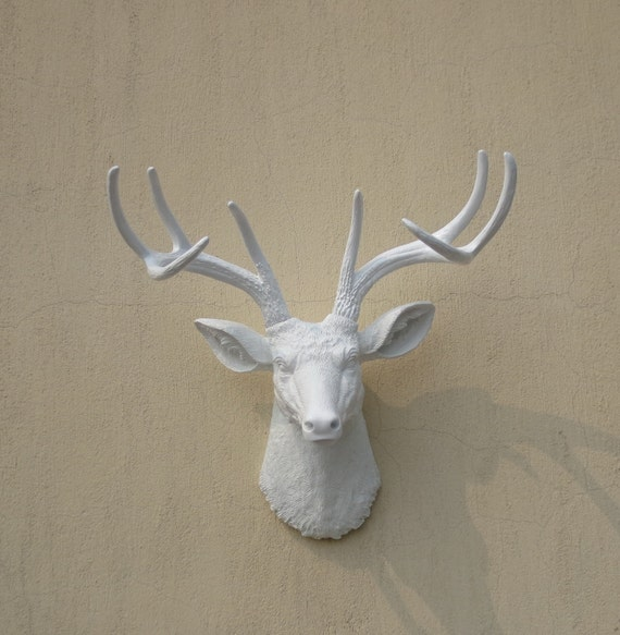 Plastic Deer Head Wall Decor : White faux deer head resin wall by fauxtaxidermyart