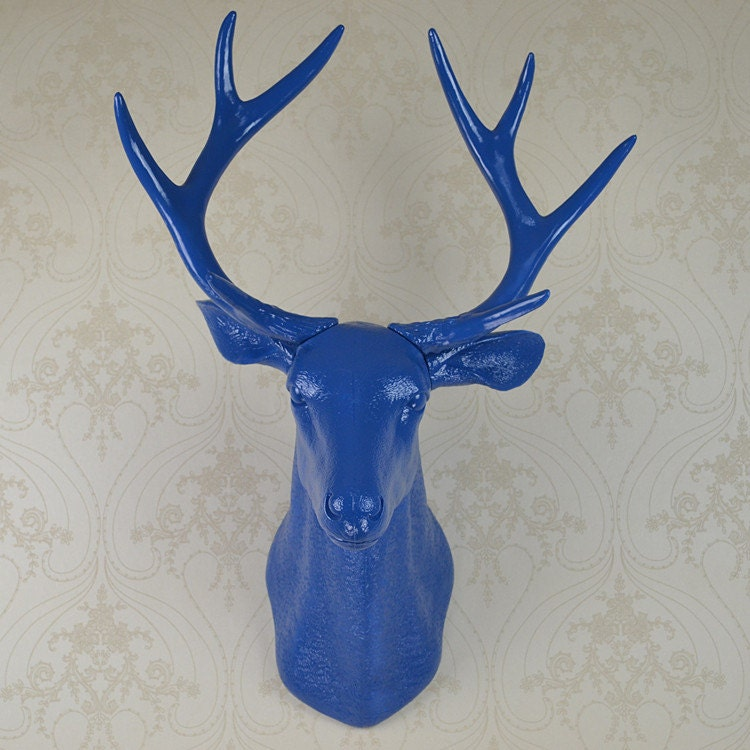 Plastic Deer Head Wall Decor : Blue faux deer head resin wall decor by