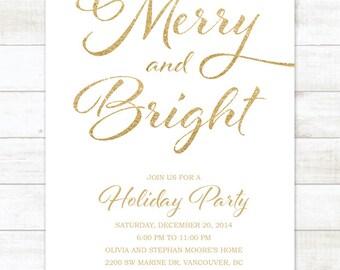 white gold holiday party invitation, white gold glitter christmas invitation, christmas party invitation digital invite customizable