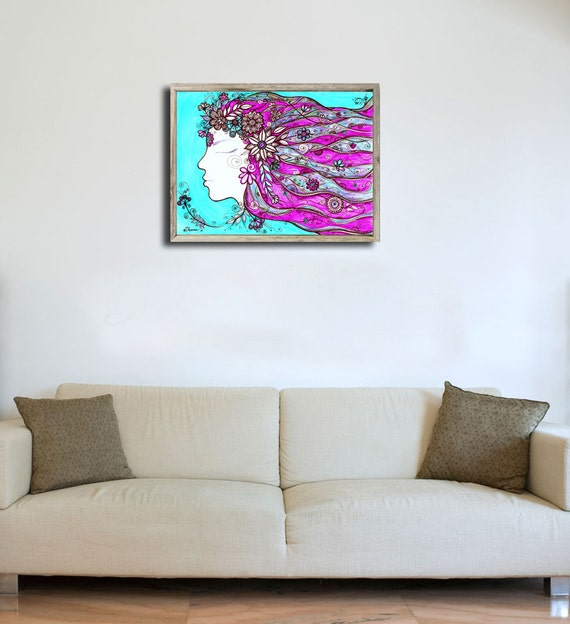 Turquoise blue pink wall decor print portrait girl by for Turquoise wall decor