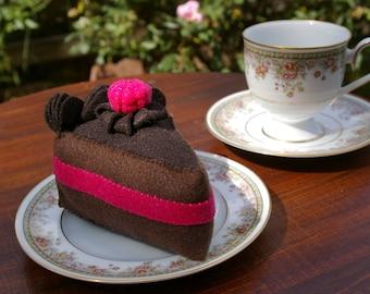 Felt Chocolate Raspberry Cake Slice - Pretend Food Toy in Wool Blend Felt