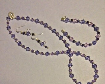 WEDDING/BRIDAL, Valentine's Day SALE, Necklace, Earrings, Bracelet, Swarovski Bridal Set, Xilions, Violet,Tanzanite, Pearls, Sterling Silver