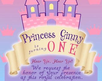 Princess Theme Birthday invitation Girl Theme--digital file only--any AGE