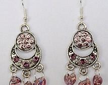 0618-Lilac crystal beads, lilac earrings, lilac jewelry, lilac on antique silver, dangle earrings, dangle jewelry, Swarovski flat backs,