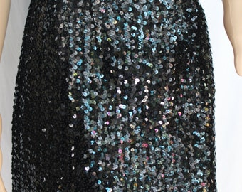 Disco Nights....Black Sequined Mini Skirt XS