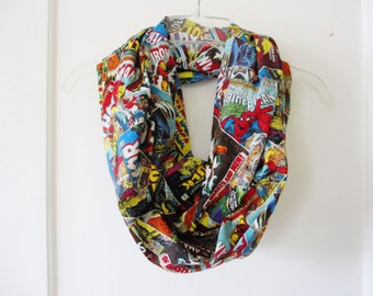 Marvel Superhero Comic Book Covers Print Cotton Infinity Scarf