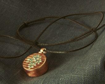 Box necklace, Copper Silver Box Necklace