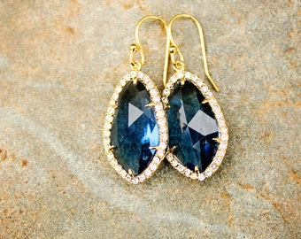 Navy Blue Earrings Dark Blue Earring Crystal Drop Earring Gold Earring Sapphire Earring Dangle Earring Royal Blue Earring Bridemaids Earring