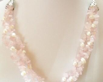 SALE - Rose Quartz Necklace Triple Strand Necklace Pearl Necklace Beaded Necklace Gift for Her Statement Jewelry Gemstone Necklace Pink Gift