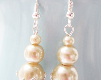 Glass Pearl Drop Earrings - Champagne     The Besties Bridesmaid Collection