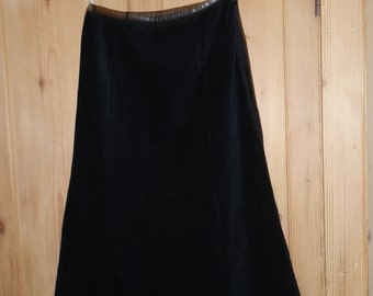 Vintage NEXT Black Fine Needlecord Long Maxi Skirt UK Size 10 Petite