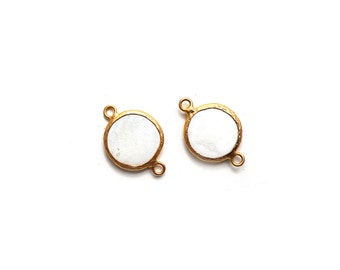 White Nacre Round Earrings Connector - Gold plated Bezel - 1 pc