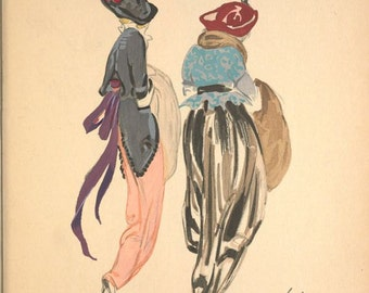 Elegant ladies in hobble skirts and feathered hats  Fashion illustration from Robes et Femme 1913  by Sachetti reproduction