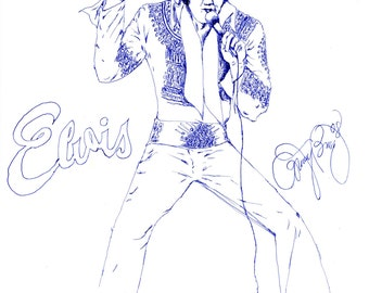Elvis Presley Drawing Blue Pen Art Famous American Singer Actor Retro Cultural Icon The King Of Rock And Roll