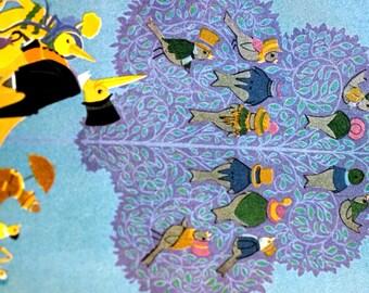 Elizabeth Cadie - 1925 - DUCK DUCKLINGS FAMILY - Bird Choir Singing Tweeting in Tree -  Matted Ready to Frame Children's Illustration Print