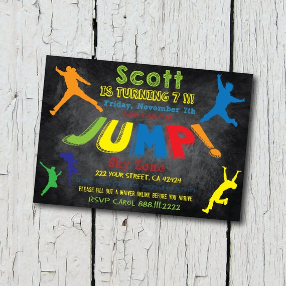 Trampoline Party Invitations: Trampoline Party Invitation Jump Birthday Party By
