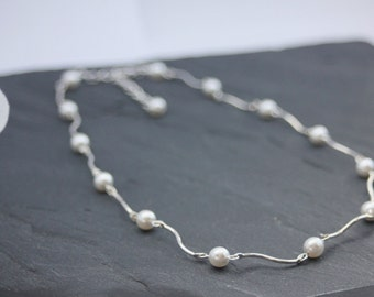 "Wedding Necklace ""Camille"" pearls and metal waves - wedding jewels - bridal jewelry"