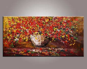 Large Painting Flower Painting Wall Art Canvas Art LARGE Original Painting Abstract Painting Impasto Texture Palette Knife Art 24x48 inch