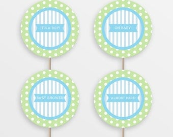 Printable baby shower cupcake toppers - Baby boy - Blue and green - INSTANT DOWNLOAD