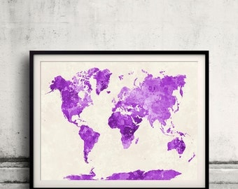 World map in watercolor purple painting abstract splatters - SKU 0406