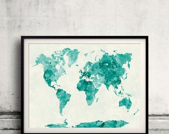 World map in watercolor green painting abstract splatters - SKU 0409