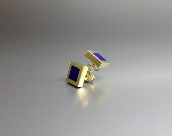 Contemporary earrings with Lapis Lazuli and 18K gold - elegant studs - gift idea