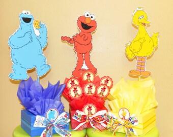 Sesame Street inspired Centerpiece with Swirl Lollypops. Elmo, Big Bird and Cookie Monster Centerpiece