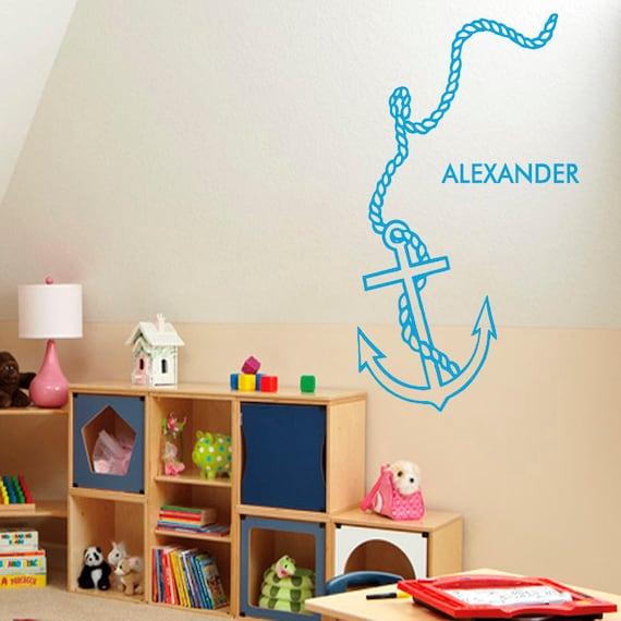 Boy Room Wall Decals Anchor Vinyl Sticker Boy Personalized