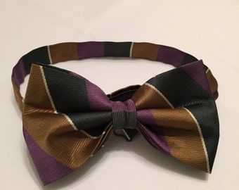 Hunter Green, Gold and White Striped Bow tie.