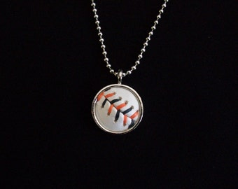 Baseball Necklace- Orange/Black Stitches Limited Edition- Round 3/4 inch, Metal Back