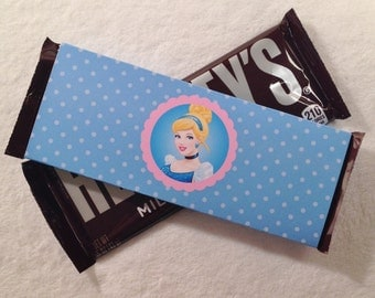 10 - NEW Cinderella pink & blue  Hershey Bar Wrappers - Cinderella Birthday or Slumber Party Favors