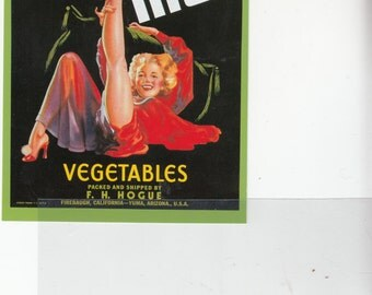 """Historic Fruit Crate Label Lithgraph Art 1980s Brand New Old Postcard """"Foot High"""" Risque Woman,Vegetables"""