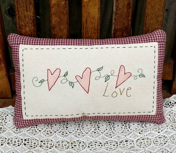 Hearts and Love Country Primitive Style Hand Stitched Embroidered Pillow - OFG, FAAP, HAFAIR