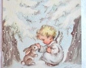 Vintage Christmas Card  - Baby Angel and Snow Bunny Rabbit - Unused Rust Craft Marjorie Cooper