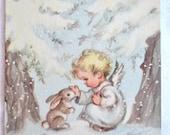 Vintage Christmas Card  - Baby Angel and Snow Bunny Rabbit - Unused Rust Craft Marjorie Cooper