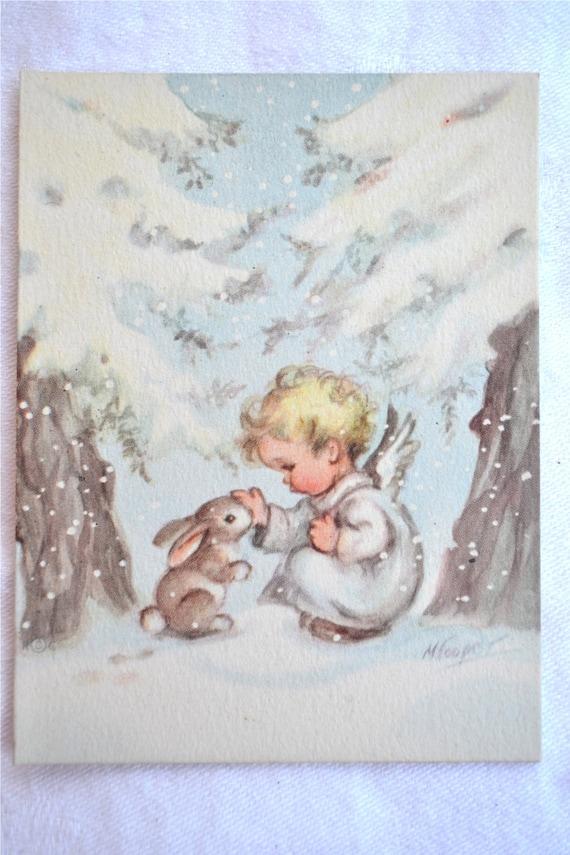 Vintage Christmas Card Baby Angel And Snow Bunny Rabbit