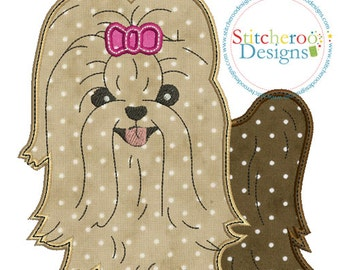 Yorkie Applique Design -In Hoop sizes4 x 4, 5 x 7, 7x7, 9x9 - Instant Download - for Embroidery Machines