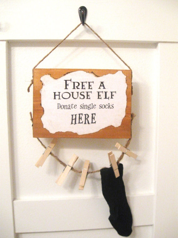 House Elf (Dobby) Laundry Room Sign--A fun place to store those single socks